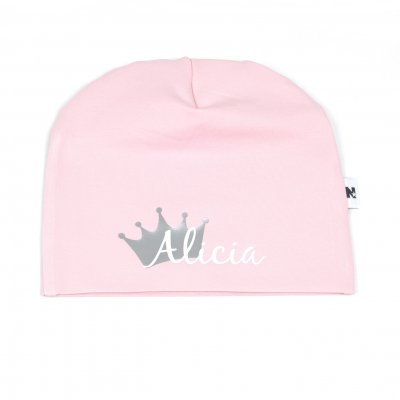 Dusty pink beanie with name / text - Crown