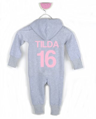 Jumpsuit - BACK (grey) text in pink
