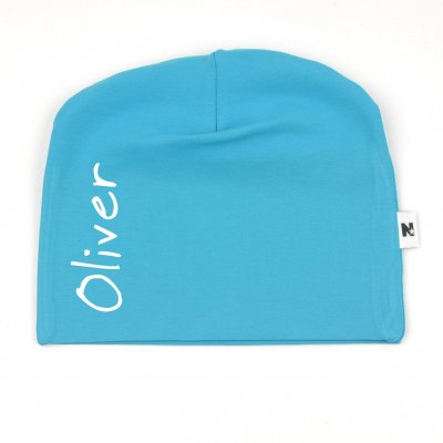 Turquoise beanie with name - Vertical