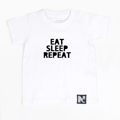T-shirt - Eat sleep repeat (white)