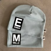 Light blue beanie with name - Letter and name