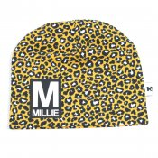 Leopard (YELLOW) beanie with name - Letter and name