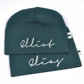 Dark Green beanie with name - Signature