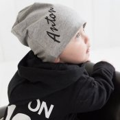 Grey beanie with name - Diagonal name / text