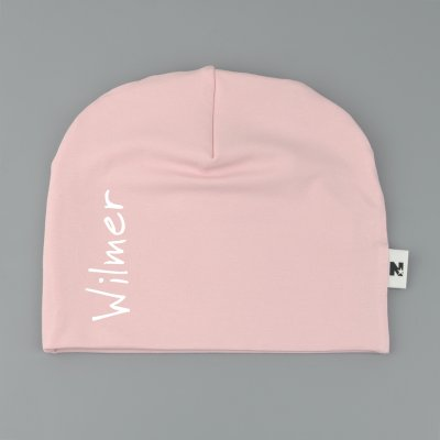 Light pink beanie with name / text - Vertical