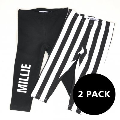 2 Leggings - Name and stripes