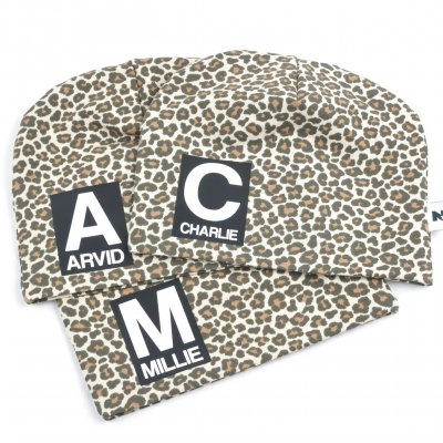 Leopard (BROWN) beanie with name - Letter and name