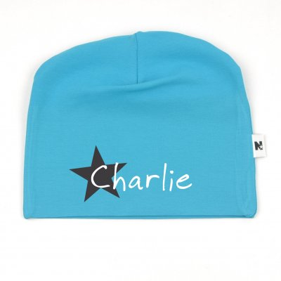 Turquoise beanie with name - Star