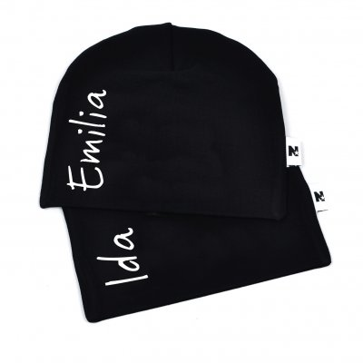 39917d7cda5 Black beanie with name - Vertical - Black name hats - Beanies with ...
