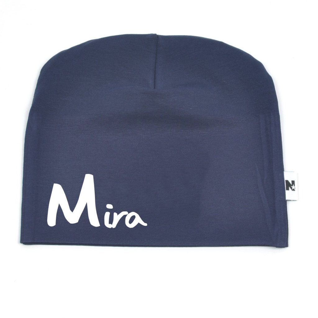 Navy beanie - Big letter - Navy blue name hats